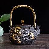 AMYAO Tetera Teapot Tetera Japonesa de Hierro Fundido, hervidor de té Chino 'Yunzhonglong' Patrón Dorado Tetera de Hierro Tetera Artesanal Pura