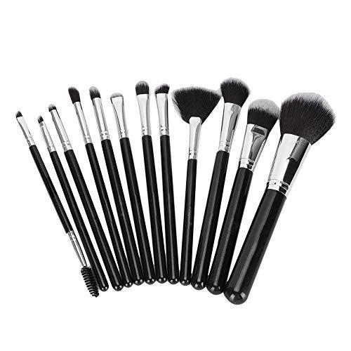 Cepillo de maquillaje negro, pinceles de maquillaje de tubo de aluminio de fibra artificial