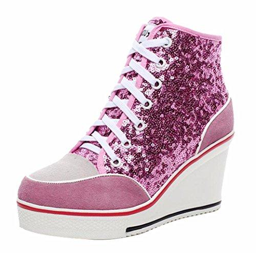 Jiu du Women's Sequins Sneakers Wedge Suede Platform Heels Pump Lace Up High Top Shoes Pink Sequin Size US10 EU43