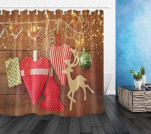 Jul vattentätt tyg duschdraperi, bad och hjärta ren krokar