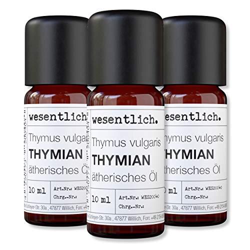 wesentlich. Thymianöl - ätherisches Öl - 100% naturrein (Glasflasche) - u.a. für Duftlampe und Diffuser (3x10ml)