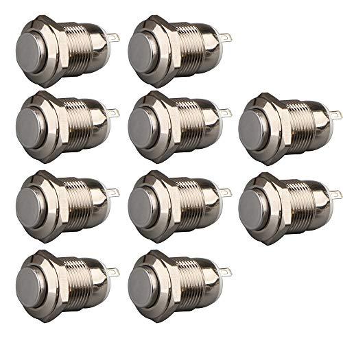 Gebildet 10 Piezas Pulsador a Prueba de Agua Botón de Acero Inoxidable Momentáneo Encendido Apagado 12mm 2A 12V/24V/125V/250V(Cabeza Alta)