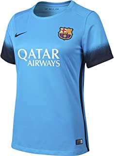 Women's FC Barcelona 15/16 Third Light Current Blue/Black Jersey