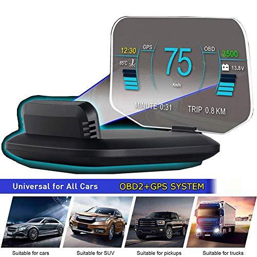 "YMJJ 6""HUD OBD2 GPS Dual System Tachometer Kilometerstand Diagnose Auto Obd2 HUD Display Höhe Flussdaten Kompass Wecker Alarm für alle PKW LKW"