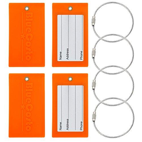 BlueCosto Flexible Tough PVC Luggage Tag Suitcase Bags Label - Fluorescent Orange, 4 Pieces