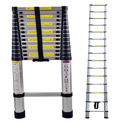 Teleskopleiter 2,6M//3,2M//3,8M//4,4M Rutschfester Aluleiter Schiebeleiter Sprossenleiter Ausziehleiter Teleskop-Design Mehrzweckleiter max 150 kg Belastbarkeit aus hochwertigem Aluminium