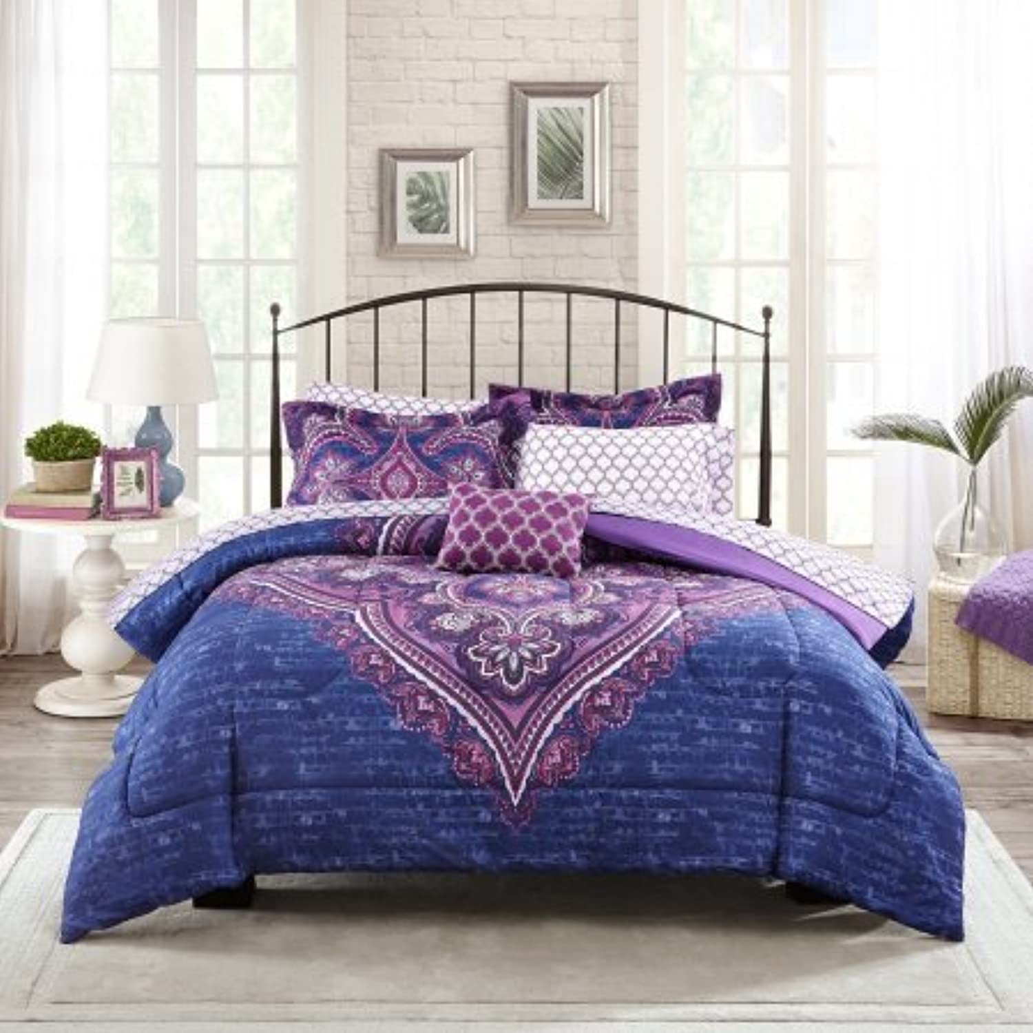Mainstays Teens' Grace Purple Floral Reversible Medallion Bedding Queen Size Comforter Sets for Girls (6 Piece in a Bag)