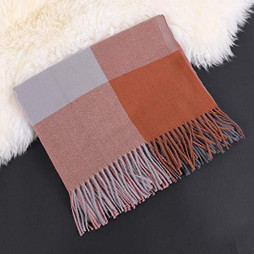 RUIKESI Schal Frauen Herbst und Winter verdickte Wärme Nachahmung Kaschmir großen Karierten Schal Schal All-Match-Braunes Gitter