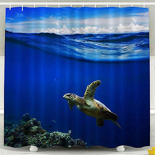 Auld-Shop Duschvorhang-Giftiger Raumteilungs-Vorhang-Vorhang-Halbes Wasser Waterscape Mit Wolken Im Himmel-Meeresschildkröte-Duschvorhang
