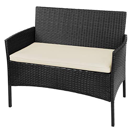 BB Sport 7-teilige Polyrattan Sitzgruppe für 4 Personen inkl. Sitzpolster und Tisch Balkonmöbel Set Sitzgarnitur, Farbe:Titan-Schwarz/Sandstrand - 5