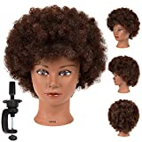 9'' Afro Mannequin Head With 100% Human Hair Training Head Hairdresser Manikin Cosmetology Doll Head For Hairdresser Practice Styling Braiding With Free Clamp Stand (SY-human hair)