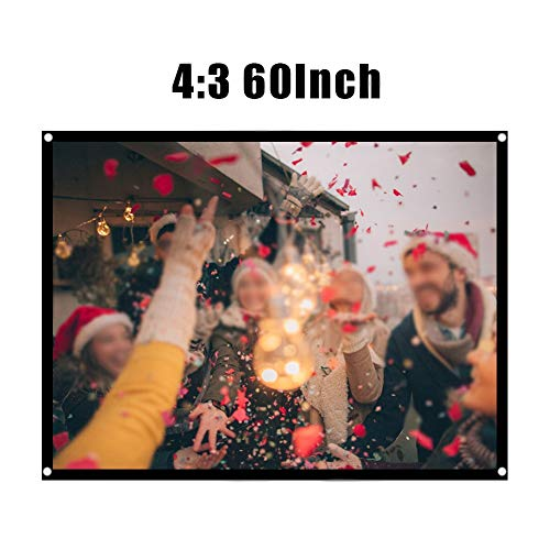 Fosa 60-100 Inch Portable Foldable Non-Crease White Projector Curtain Projection Screen 4:3 Portable Movies Screen for Projector Home Theater Outdoor (60Inch)
