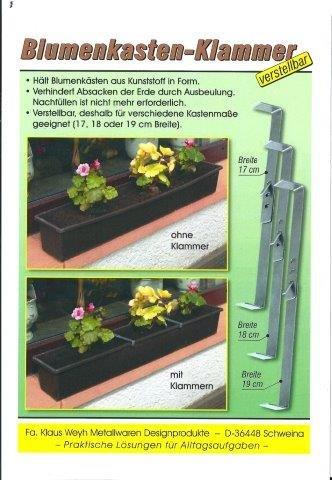 Klaus Weyh Metallwaren Designprodukte / Entwicklung - Herstellung - Verkauf Blumenkastenklammer, verstellbar