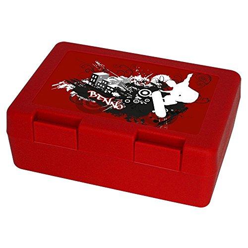 Eurofoto Brotdose mit Namen Benno und Skater-Motiv mit Skateboard und Cooler Graffiti-Schrift für Jungen - Brotbox - Vesperdose - Vesperbox - Brotzeitdose mit Vornamen