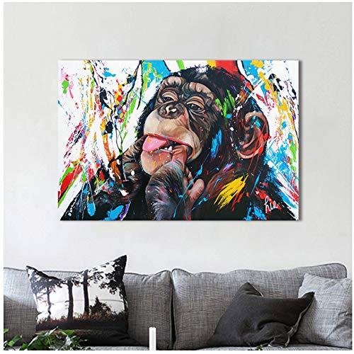 HYFBH Moderne Dekorative Wandkunst Leinwand Malerei Lustige Schimpansen Tier Bild Drucke Wohnkultur Wand Pic Leinwand Bild-60x80 cm Mit Rahmen