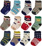 12 Pairs Baby Boys Toddler Non Skid Cotton Socks with Grip 1-3 Years by Flanhiri (1-3 Years, 12 pairs)
