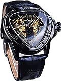QHG Reloj de Pulsera automática de Moda de Oro Negro Triangle Sport Racing Dial Golden Skeleton Mecánico