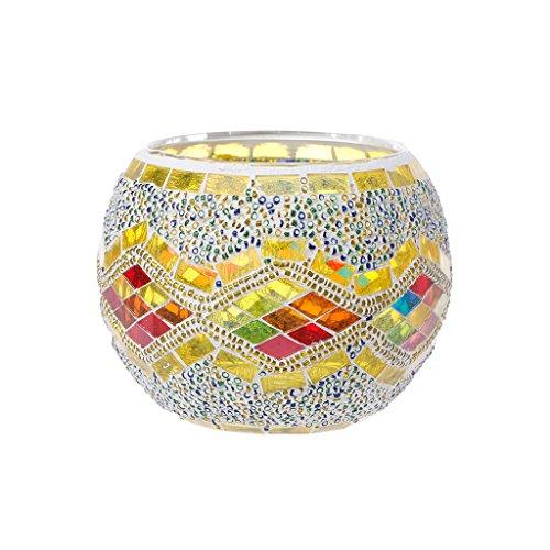 Yunso Photophores en verre style européen en mosaïque - Forme cylindrique - Décoration