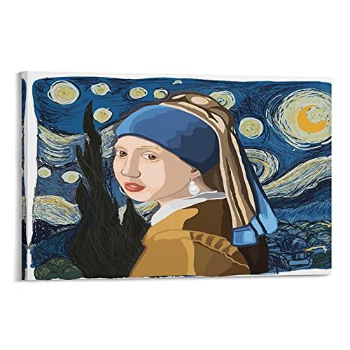 jiaohua Póster de niña con una perla en la noche estrellada gráfico de dibujo a mano, lienzo y arte de la pared, diseño moderno de dormitorio familiar de 60 x 90 cm