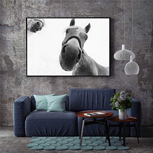 Imprime imágenes Arte pared Caballos blancos Fondo