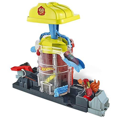 Hot Wheels GJL06 - City Feuerwehr-Einsatzzentrale Spielset mit 1 Hot Wheels Fahrzeug, Spielzeug ab 4 Jahren