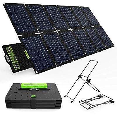 Upgrade Topsolar 100W Foldable Solar Panel Charger Kit for Portable Generator Power Station Smartphones Laptop Car Boat RV Trailer 12v Battery Charging (Dual 5V USB & 19V DC Output)