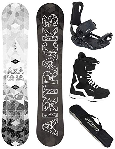 Airtracks Snowboard Set - Wide Board Akasha Wide 157 - Softbindung Master - Softboots Strong 42 - SB Bag
