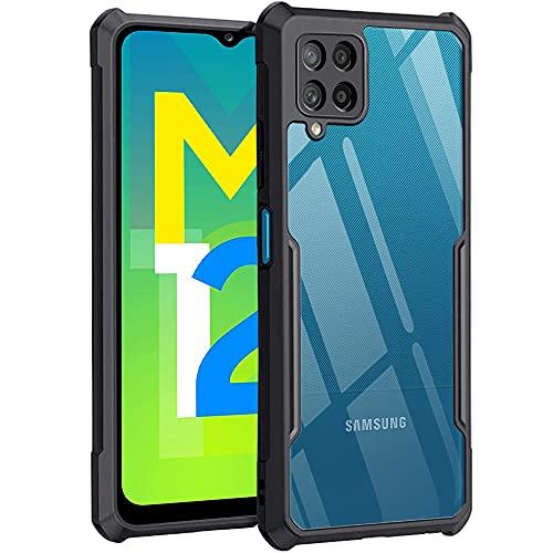 TheGiftKart Back Cover Case for Samsung Galaxy M12 / F12 / A12 (Shockproof   Hybrid TPU & PC   Transparent   Black Bumper)