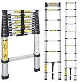 TFCFL 4.4M/3.2M Escalera Telescópica Plegable,Antideslizante Escaleras Plegables Aluminio para Mantenimiento de Viviendas,Trabajos de Poda de Arboles,150 kg de Capacidad de Carga (3.2m)