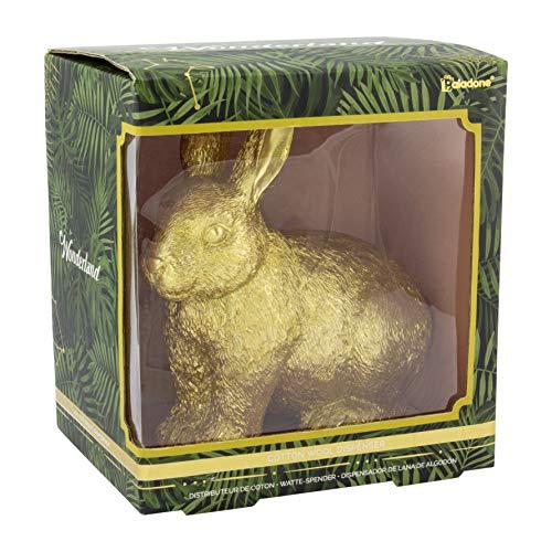 Wonderland Dispensador de lana de algodón – Soporte de bolas de algodón de conejo dorado – Disney Alicia en el país de las maravillas