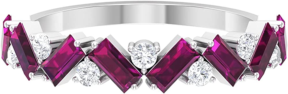 1.50 CT Baguette Cut Rhodolite Half Eternity Ring with Diamond (AAA Quality),14K White Gold,Diamond,Size:US 8.50