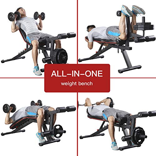 HARISON Weight Bench Adjustable Utility Exercise Workout Bench with Barbell Rack and Preacher Pad Leg Extension for Full Body Home Gym Strength Training Multi-Purpose Folding Flat Incline Decline Bench 550 LBS (HR-609)