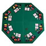 Giantex 48' Folding Poker Table Top Green Octagon 8 Player Four Fold Folding Poker Table Top & Carrying Case (Dark Green)