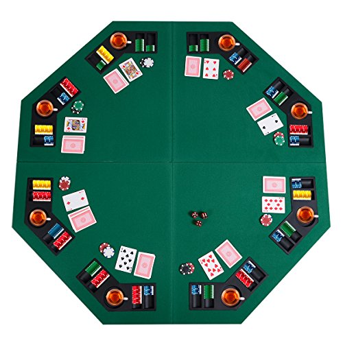 "Giantex 48"" Folding Poker Table Top Green Octagon 8 Player Four Fold Folding Poker Table Top & Carrying Case (Dark Green)"