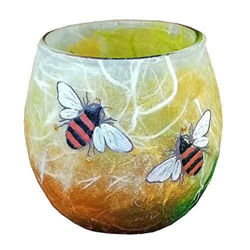 Bee tea light votive candle holder, hand painted on warm spring colours strawsilk, Handmade in Devon UK by Tim Lee