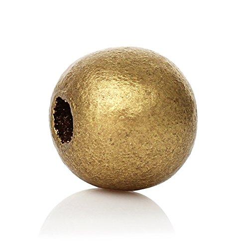 SiAura Material ® - 500 Stück Holzperlen 10mm mit 3,5mm Loch, Rund, Goldfarben zum Basteln
