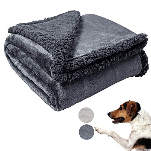 "softan Premium Dog Blanket, Reversible Flannel Fleece Sherpa Pet Blanket, Dog Bed Cover Throw for Small, Medium, Large Dog, Cat, Animal, 30""40"",Darkgrey"