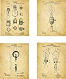 Vintage Lightbulbs Gaming Patent Wall Art Prints - set of Four (8x10) Unframed - old lights and bulbs wall art decor