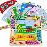 Akokie Jouet Montessori Jeu en Bois Clip Perle Jeux éducatifs Enfant Tri des Matching Pair Puzzle Bois Enfant Jouets 3 4 5+ Ans Enfants Cadeau d'anniversaire