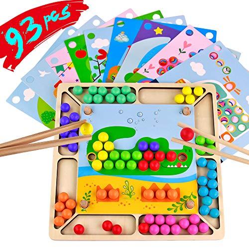 Holz Montessori Spielzeug Perlen Spiel 93 Stücke Interaktives Spielzeug Puzzles Mathe Frühe Lernspielzeug für Kinder Jungen Mädchen 3 Jahre Alt