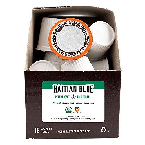 Fresh Roasted Coffee, Organic Haitian Blue, Medium Roast, Kosher, K-Cup Compatible, 18 Pods