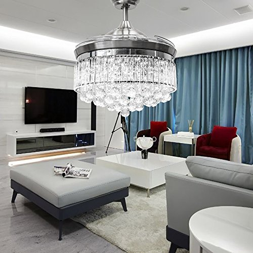 Orillon Crystal Chandelier Fan Light Modern 42 Inch Polished Silver Retractable Hidden Invisible Silent Fan for Indoor Room, Reversible 6-Gear Speed LED 36W, Dual Control-Remote and Wall Control