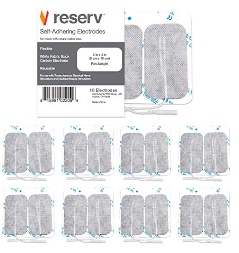 reserv 2' x 4' Rectangle Premium Re-Usable Self Adhesive Electrode Pads for TENS/EMS Unit, Fabric Backed Pads with Premium Gel (White Cloth and Latex Free) (16 Electrodes)