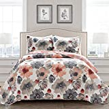 Lush Decor Leah Quilt Floral 3 Piece Reversible, Full/Queen, Coral & Gray
