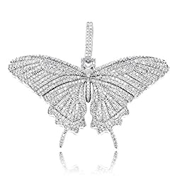 White Gold Iced Out Diamond Flat Butterfly Pendant Necklace