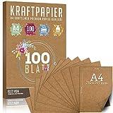 hojas de papel Kraft A4 Set - 260 g - 21 x 29,7 cm - Formato DIN Papel artesanal y cartulina natural Cartón Hojas de papel Kraft para imprimir, Papel de cartulina Elaboración de etiquetas (100 hojas)