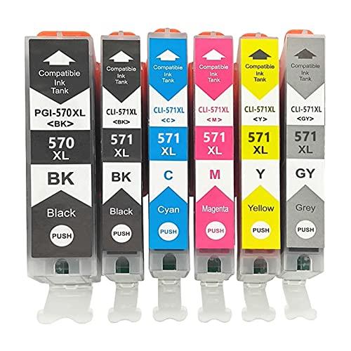 RICR Reemplazo De Cartucho De Tinta Remanufacturado para Canon PGI-570 CLI-571 para Usar con PIXMA MG5750 5751 5752 5753 6850 6851 6852 6853 7750 7751 7752 7753 TS9050 90 A Set