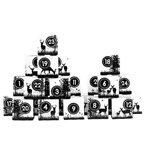 Papieren drachen DIY adventskalender kisten set - motief zwart-goud met glitter - 24 kleurrijke dozen van karton om neer te zetten en te vullen - 24 dozen - Kerstmis 2018
