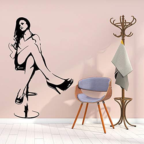 yaonuli Exquisite Frau Wandaufkleber Persönlichkeit kreative Kinderzimmer Zimmer Wanddekoration Wandbild Wohnzimmer Dekoration57X66cm