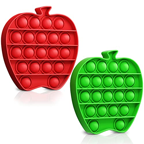Easy Peasy Toys Apple Pop On It Its Popping Fidget Toys - Bubble Push Toy Stress Reliever - Anxiety Relief Sensory Popper Toys for Kids/Adults - Stress Relief Toy Set of Green and Red Apples